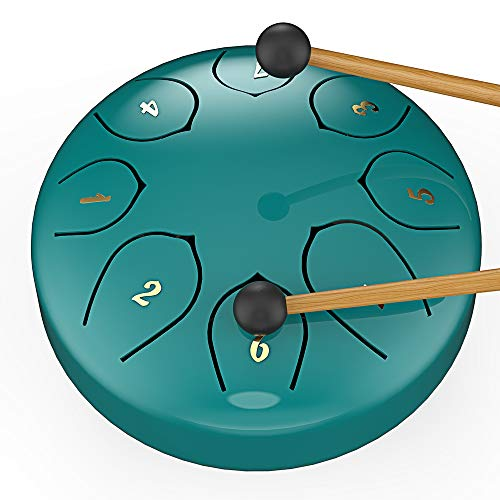 Tambor de acero con lengua de acero de 6 pulgadas G mayor 8 tonos, utilizado para yoga, meditación, entretenimiento, raduno, de práctica (azul)