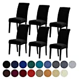 Howhic Stretch Chair Covers for Dining Room Set of 6, Removable Washable Dining Room Chair Covers, Dining Chair Slipcovers Seat Protector, Great Home Decor and Banquet Upholstery (Black,6pk)
