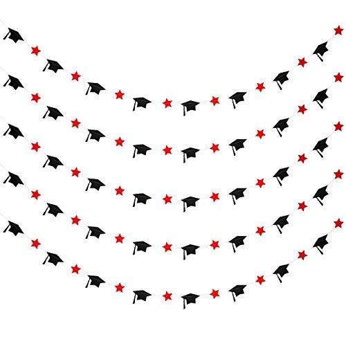 5Pcs Black & Red Paper Graduation Cap Stars Garland Banner-Graduation Party Decorations,Grad Party Decor,Home Decor,Classroom Decor