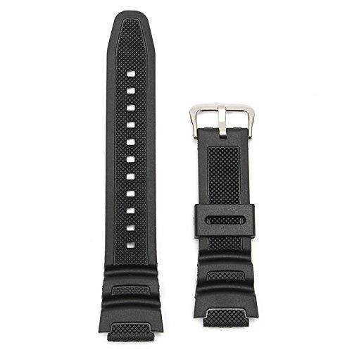 ROUHO 18Mm Originale Cinturino Watch Band per Casio Sgw-300H Sgw-400H Sgw-300 Sgw-400 Nero