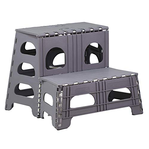 Bee Neat 2 Step Folding Stool for Kitchen, Closet, RV & More – Collapsible Step Stool Ladder Ideal for Adults, Seniors, Kids