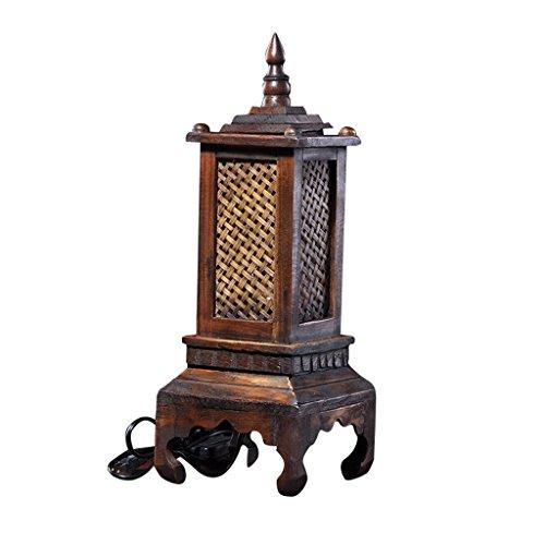LOFAMI Thai Style Art Tour en bois modélisation lampe de table, abat-jour en bambou, sculpture sur bois traditionnel décor chambre salon lumière de table