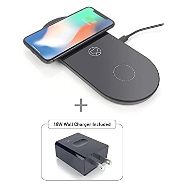 LXORY Dual Wireless Charging Pad - Double Qi Fast Charger for Two Phones (9W/Pad) Compatible with iPhone X/8, Samsung Note 8/S8, S7, S6 and Other Qi Ready Phones - USB C Charging Mat