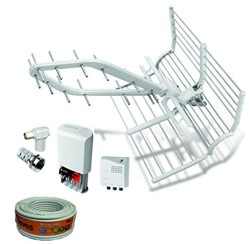 Kit Antena FAGOR Rhombus LTE 5G + Amplificador 35dB + Cable TELEVES 20m + Conexiones