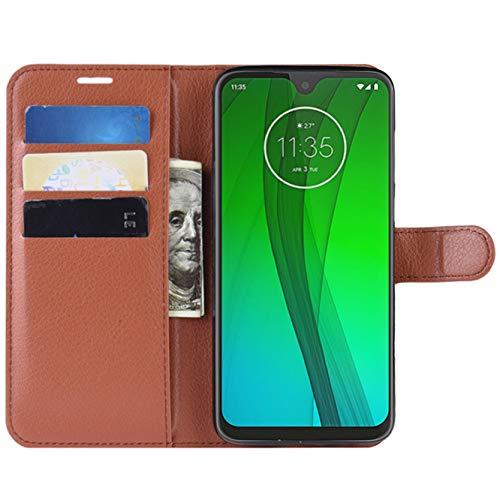 HualuBro Moto G7 Plus Hülle, Leder Brieftasche Etui LederHülle Tasche Schutzhülle HandyHülle Handytasche Leather Wallet Flip Hülle Cover für Motorola Moto G7 Plus (Braun)