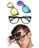 Kretix Magnetic Sunglasses, Advanced Mirror Eyeglasses with Clip-on Polarized Lens and Night