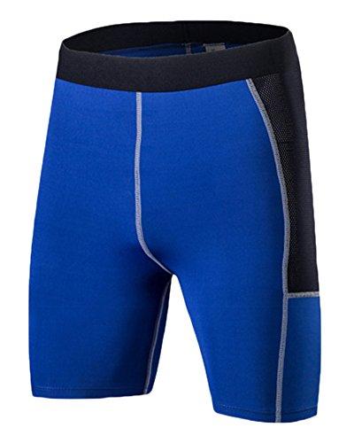 ZongSen Homme Collant de Course Short Fonctionnel Respirant Séchage Rapide Tights Shorts Bleu L