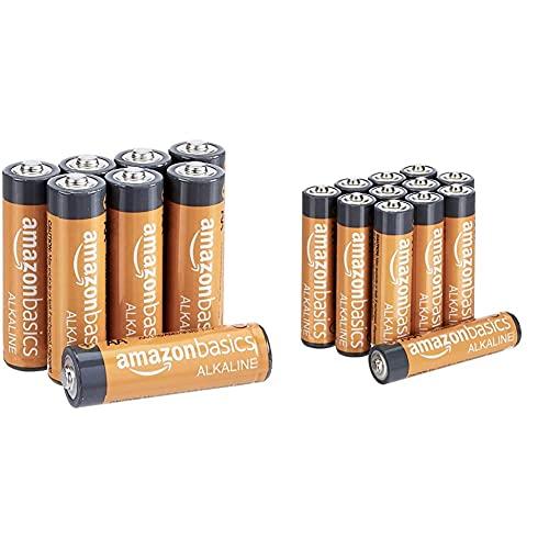 Amazon Basics AA-Alkalibatterien, leistungsstark, 1,5V, 8 Stück und Performance Batterien Alkali, AAA, 12 Stück (Design kann von Darstellung abweichen)