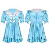 iEFiEL Herren Sissy Dessous Satin Kleid Männer Dienstmädchen Kostüm Uniform mit Schleife Crossdresser Unterwäsche Kurzarm Nachthemd Blau XX-Large