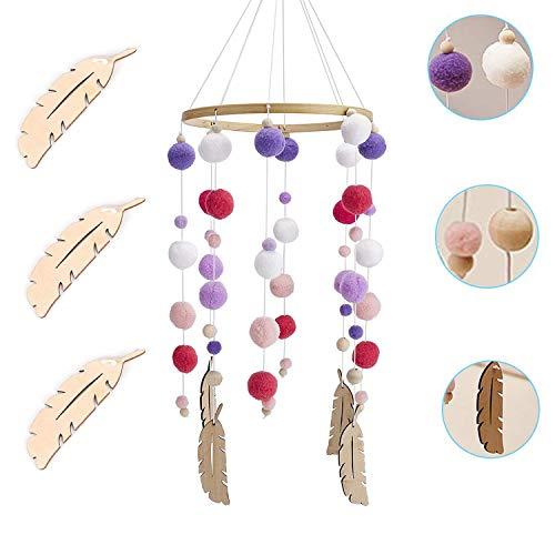 Campana Colgante de cuna,Juguetes Colgantes Cama Bell, Móvil Campana de Cama de Madera,para Cuna decoración del hogar (Purple)