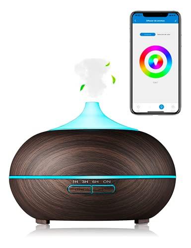 Humidificador de aceites Esenciales Difusor de Aromas ultrasónico 300ML Compatible con Alexa y Google Home Regulable Humidificador Si Smart, Multicolor, ambientador, aromaterapia.