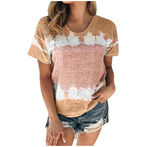 Xuthuly Frauen Sommer Casual Gradient Tie-Dying Tops Bluse Mode Rundhalsausschnitt Kurzarm T-Shirt Plus Size Tunika
