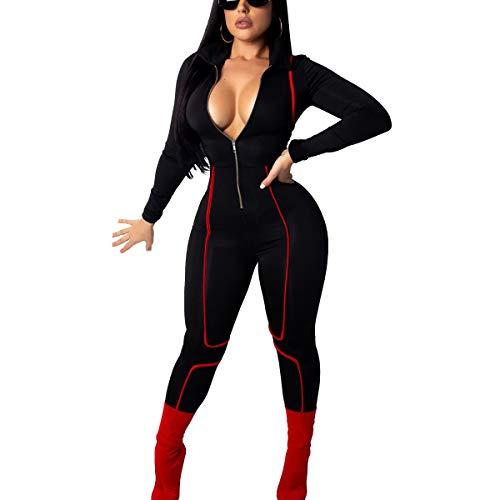 Galy Mujeres Moda Negro con Cremallera Sexy con Cuello en v Profundo Mangas largas Mono Delgado Fitness Mameluco para Mujeres (Color : Black, Size : S)