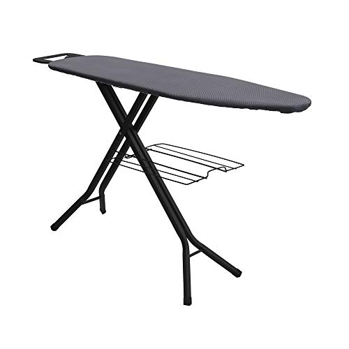 Household Essentials Black and Grey Deluxe Steel Top Board with Iron Rest and Clothes Rack