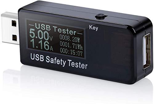 ARCELI USB Digital LCD Medidor de Potencia Probador de Seguridad Multímetro Monitor de Voltaje Actual