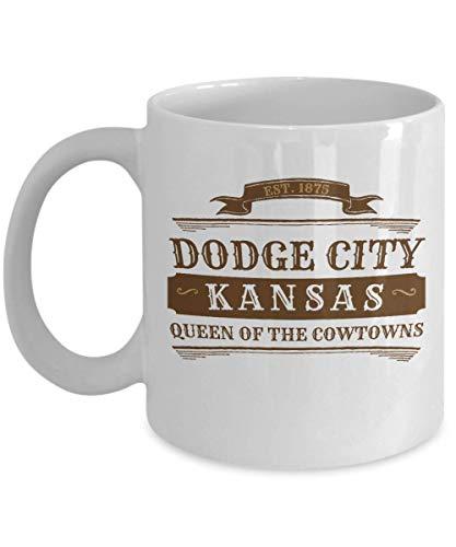 N\A Dodge City Kansas Taza de café KS Cowboy Souvenir Gift Taza Blanca Personalizada