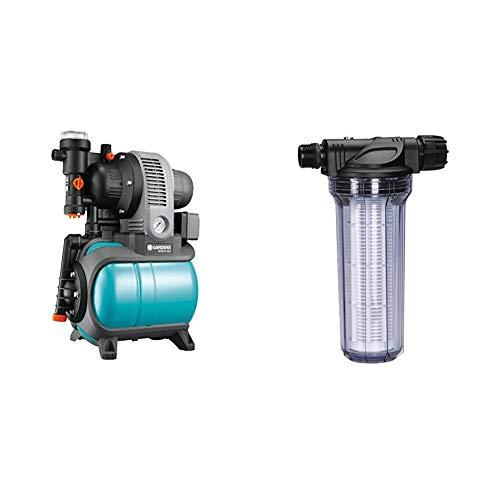 Gardena Classic Hauswasserwerk 3000/4 eco: Hauswasserpumpe mit Thermoschutzschalter, max. Fördermenge 2800 l/h) & Pumpen-Vorfilter für Wasserdurchfluss bis 6000 l/h