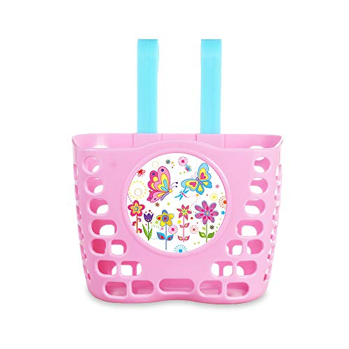 MINI-FACTORY Kid's Bike Basket, Pink Cute Princess Crown/Butterflies/Lovely Unicorn Pattern Bicycle Front Handlebar Basket for Kid Girls (Unicorn)