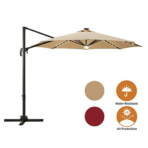 small AECOJOY 10FT Umbrella 360 Degree Solar LED Cantilever Hanging Lamp Shade Easy Tilt…