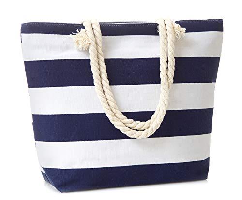 Leisureland Canvas Tote Beach Bag, Rope Handle Water Resistant Shoulder Bag (Stripe Navy Blue)