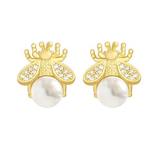 DIDIWEI Exquisitos Aretes De Perlas De Abeja, Temperamento De Moda, Aretes Pequeños Versátiles, Joyería Elegante para Damas