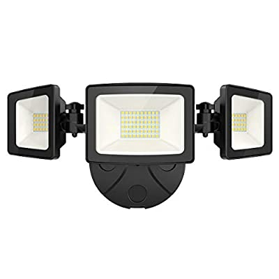 Onforu 50W LED Security Light, 5000LM Super Bright Outdoor Flood Light, IP65 Waterproof, 5000K Daylight White 3 Adjustable Heads Wall Light for Garage, Patio, Garden, Porch, Yard