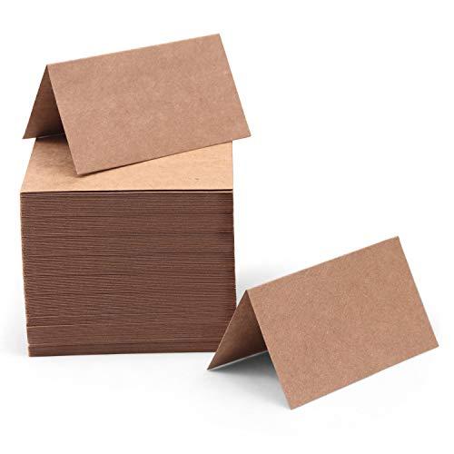 Tischkarten (200 Stk) - Kraftpapier Platzkarten Tischkärtchen Namensschilder zum Beschriften, für Tischnummern, Buffet Schilder, Namenskarten, Hochzeit, Party – Tischkarte Rustikale Blanko Karten