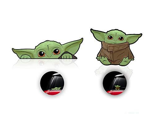 4 Stück Baby Yoda Aufkleber für Auto, Fenster, Laptop, Gepäck, Skateboard, Fahrrad, Mandalorianische Aufkleber, Aufkleber für Fenster