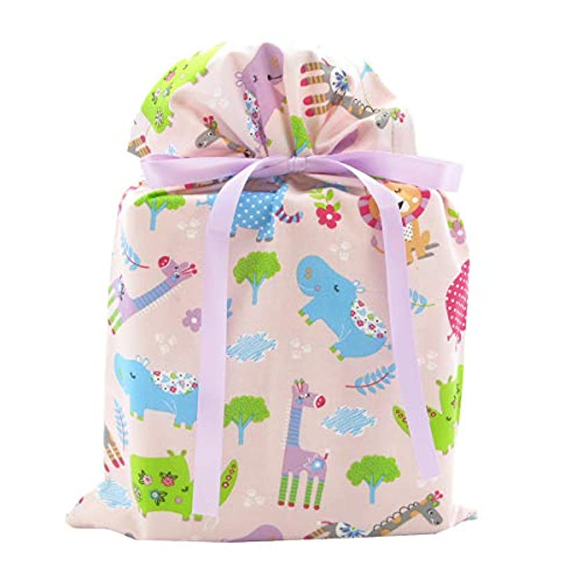 Jungle Animals Reusable Fabric Gift Bag for Baby Shower or Child's Birthday (Standard 10 Inches Wide by 15 Inches High, Pink)