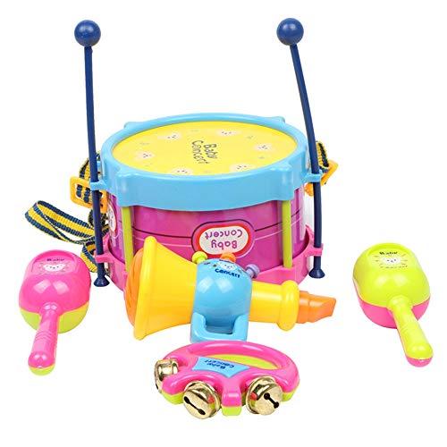 Nrpfell 5 Unids / Set Juego de Juguetes Musicales Rollo de Tambor Instrumentos Musicales Kits de Banda Ni?Os Juguete Educativo Temprano Regalo Bebé Agarre Campana de Mano