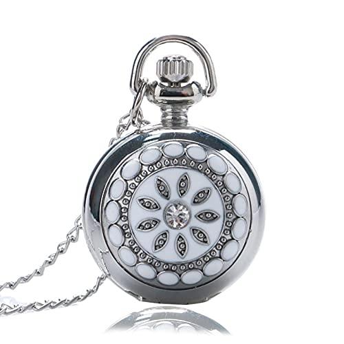 SSJIA Plata Blanca cerámica Flor Cristal Cuarzo Reloj de Bolsillo Collar Colgante Mujeres Dama-predeterminado