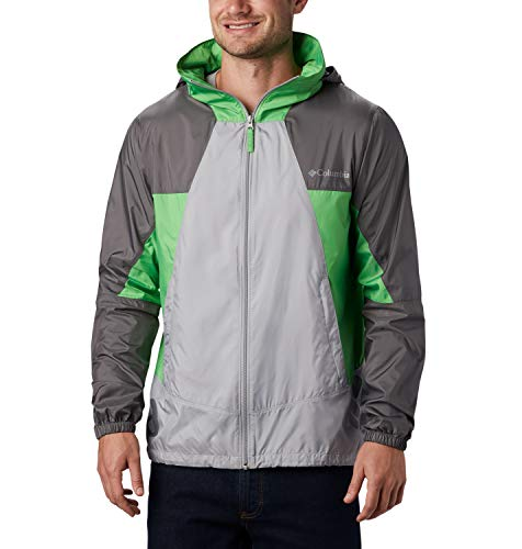 Columbia Point Park, Chaqueta cortavientos, Hombre, Gris/Verde (Columbia Grey/City Grey/Green Boa), L