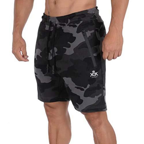 Pixeショートパンツ メンズ ハーフパンツ 短パン フィットネス スポーツ ジョギング ポケット付き 通気性 にファスナー付き ミリタリーグレーM