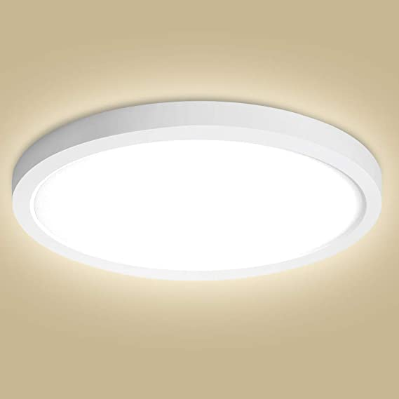 LED lámpara de techo redonda, Oeegoo 12W 960LM LED plafón delgado 1.3CM, sin parpadeos luz LED para dormitorio, salón, cocina, oficina, estudio, iluminación de techo Blanco natual 4000K