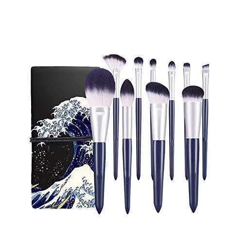 ZXIAOMEI Pinceau De Maquillage Set (avec Le Sac Cosmétique) 10 Advanced Synthetic Fiber Hairless Fondation Blend Maquillage Des Yeux Pinceaux