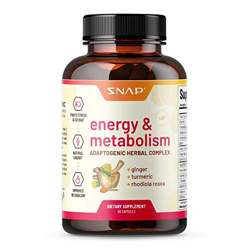 Metabolism and Natural Energy Supplements for Fatigue, Stress Relief, Energy Booster & Better Mood, Energy Pills for Women & Men, Ginger, Turmeric, Rhodiola Rosea + More Herbs & Vitamins (60 Capsules)