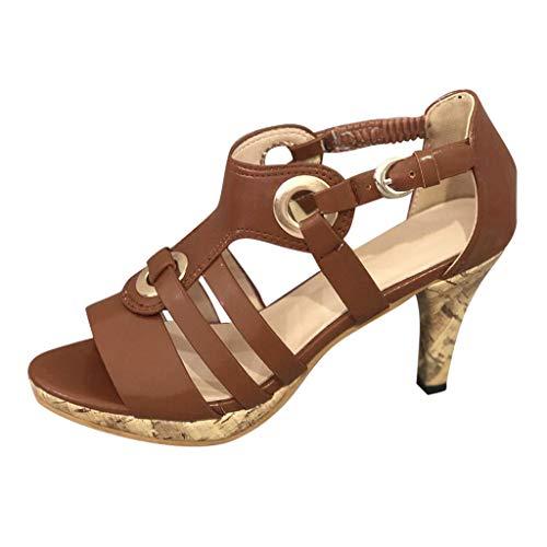 Damen Sandalen Riemchensandale Römersandale Sandalette T-Riemen Riemchenpumps Peep Toe Sommer Sandals Freizeitschuhe(1-Braun/Brown,38) 813