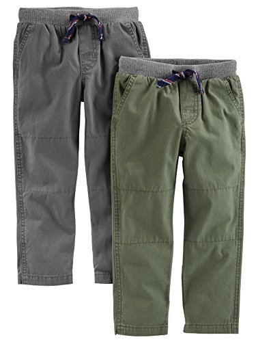 Simple Joys by Carter's Baby Boys' Toddler 2-Pack Pull on Pant, Green, Gray, 4T