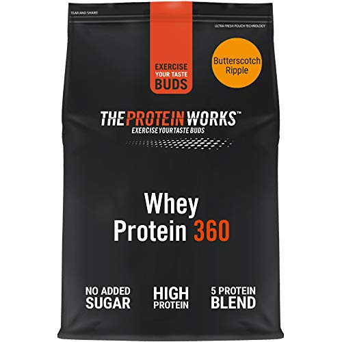 THE PROTEIN WORKS Whey Protein 360 Powder | High Protein Shake | No Added Sugar and Low Fat | Protein Blend | Butterscotch Ripple | 600 g