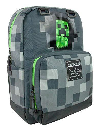 Minecraft Creepy Creeper Rucksack Backpack dunkelgrau, Bedruckt, 100% Polyester.