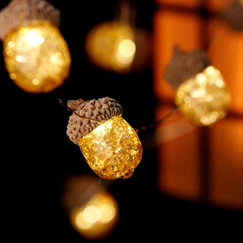 Impress Life 3D Acorn Christmas Decoration String Lights, 10 ft Silver Wire 20 Big Led Icon Battery Operated with Remote and Timer for Christmas, Thanksgiving Wedding Birthday Harvest Home Parties