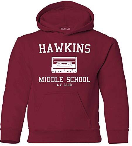 NuffSaid Youth Hawkins Middle School AV Club Hooded Sweatshirt - Stranger Kid's Hoodie (YL: 14-16, Cardinal Red)
