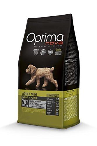 Optimanova Super Premium Huderfutter Adult Mini Digestive - Trockenfutter Kaninchen und Kartoffel - 2kg - Hypoallergen - Ohne Getreide - 40% Frischfleisch - Kleine Hunderassen