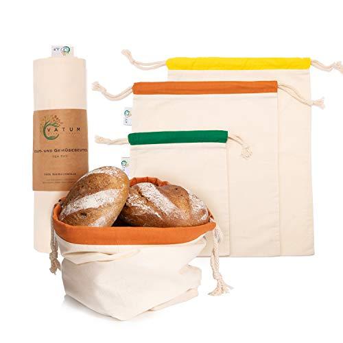 Vatum Brotbeutel 3er Set aus 100% Hanf - Zero Waste Obst- und Gemüsebeutel mit E-Book - Umweltfreundlicher Brotsack - Wiederverwendbare Brotbeutel Leinen zur Brotaufbewahrung