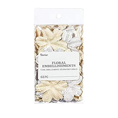 Darice Newspaper Floral Embellishments: White/Ivory, 1.75 in, 65 Pack, Assorted