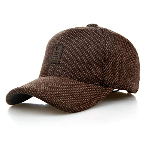 Gorra de béisbol de Invierno para Hombre, Sombrero de algodón de Lana cálido, Gorra de béisbol para Caballero, Orejeras, Sombrero para Deportes al Aire Libre-marrón