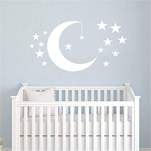 Beau stickers mural enfants nuages étoiles lune prénom personnalisable couleurs