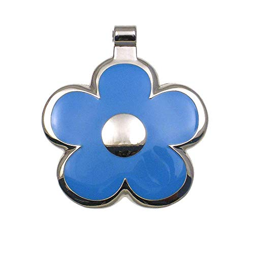 LuckyPet Flower Jewelry Pet ID Tag for Dogs and Cats, Easy to Read Personalized Engraving on Back Side, Small, LightBlue