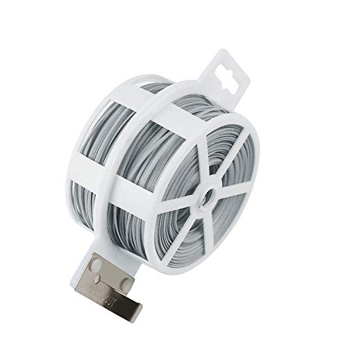 Shintop Garden Plant Ties, 328 Feet Twist Ties Wire Heavy Duty for Gardening, Home, Office (Grey White)