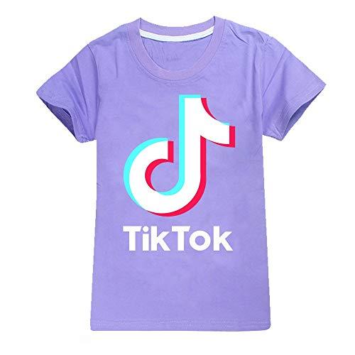 TIK TOK - Camisetas de algodón para niños y niñas Morado Morado (  160 cm